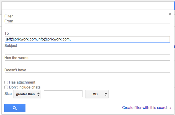 gmail filter for all inbound emails to your addresses